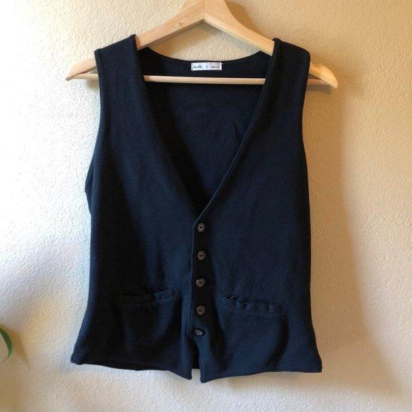Anthropologie Black Button Up Vest S